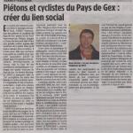 Article dans La Voix de l'Ain du 13 janvier 2012