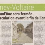 Ferney: la Grand'Rue fermée la nuit et le dimanche