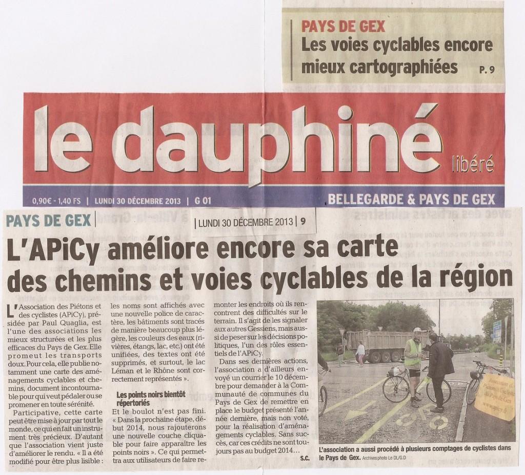 Article dans le Dauphiné Libéré du 30 décembre 2013