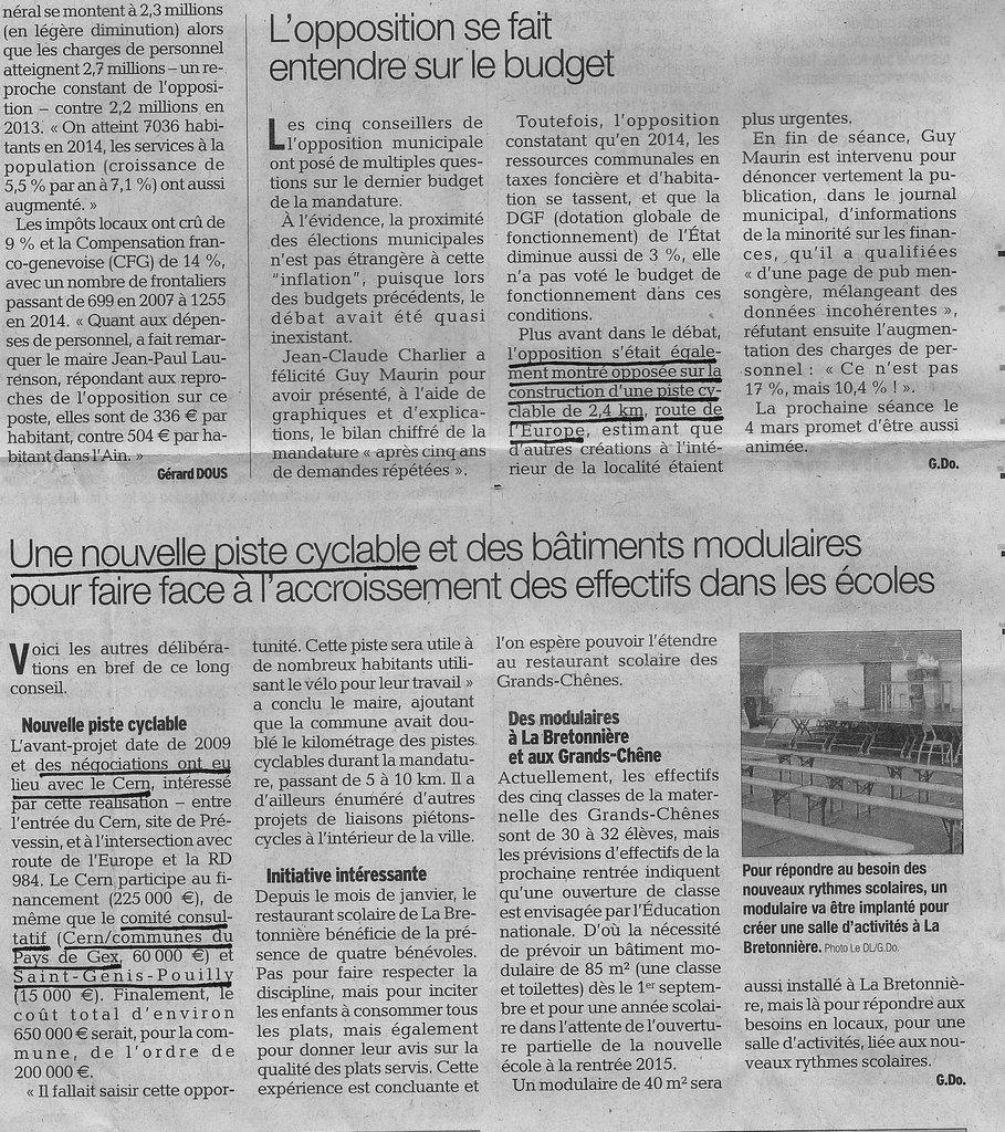Article dans le Dauphiné du 14 février