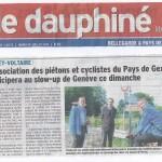 Un article dans le Dauphiné annonce notre prochaine balade