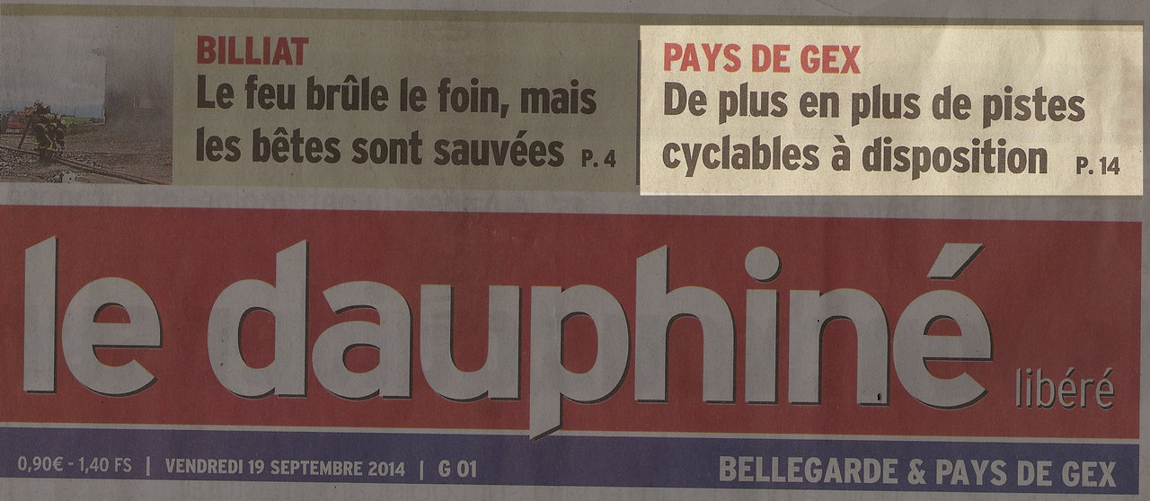 Un grand article dans le Dauphiné du 19 septembre