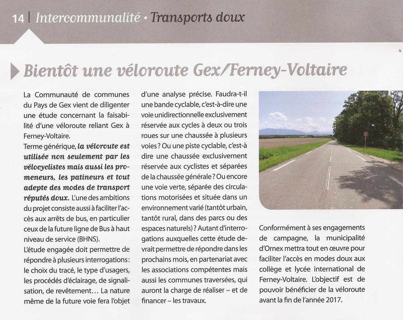 Des nouvelles de la véloroute Gex-Ferney