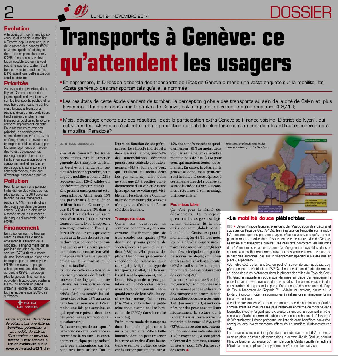 Article dans Hebdo01 sur nos réactions à l'enquête de mobilité du canton de Genève