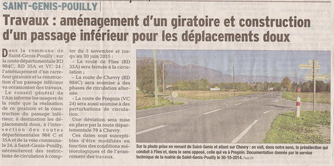 Article paru dans le Dauphiné Libéré du 3 novembre 2014