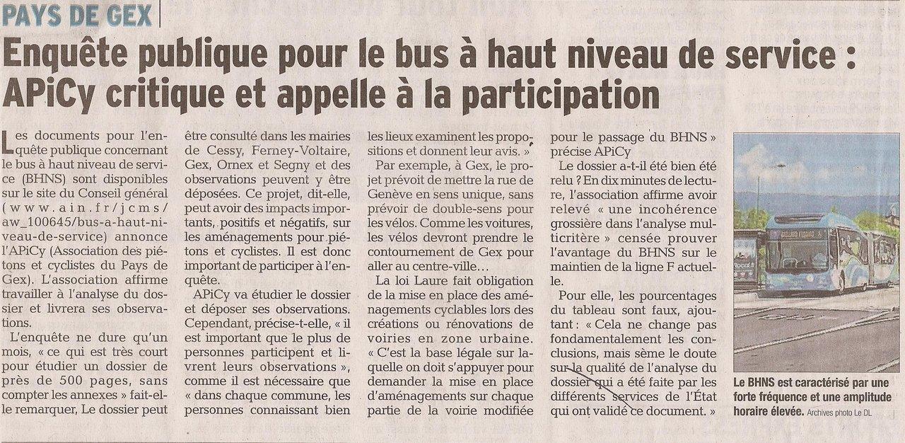 Un article dans le Dauphiné à propos de notre appel à participer à l'enquête BHNS
