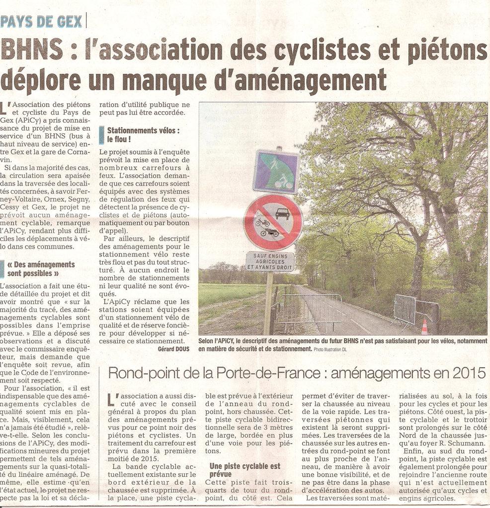 Un article sur nos observations sur le BHNS dans le Dauphiné libéré