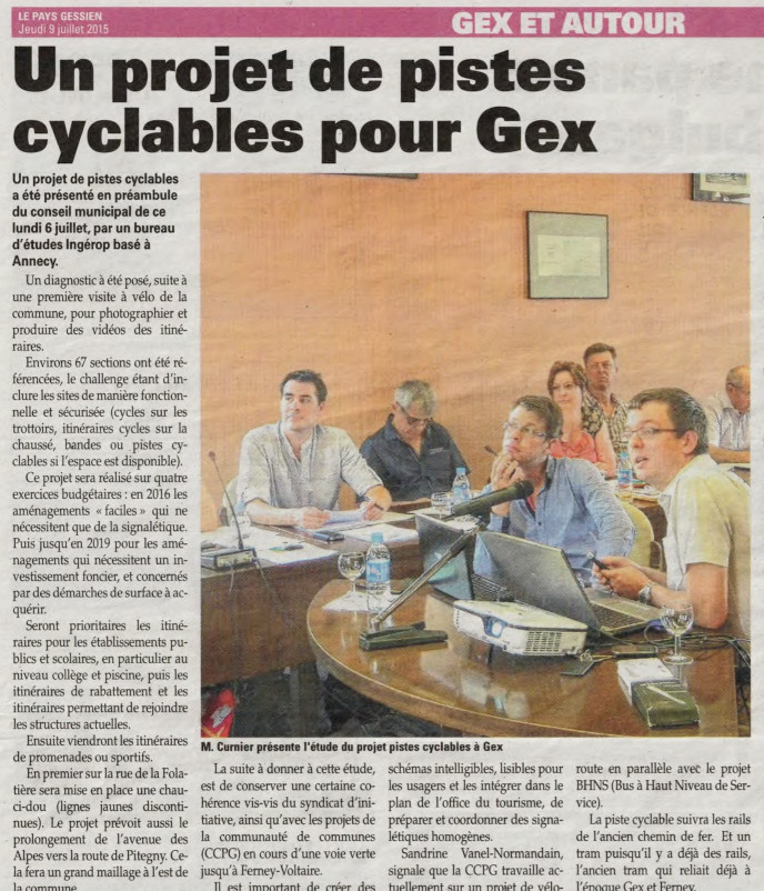 15-07-09 Article Gessien pistes cyclables Gex