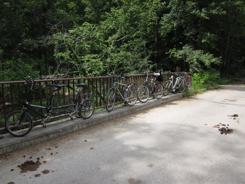 Le seul endroit où attacher les vélos...(nous avons envoyé quelques photos à la mairie de Collex-Bossy pour demander la mise en place d'arceaux pour les vélos).