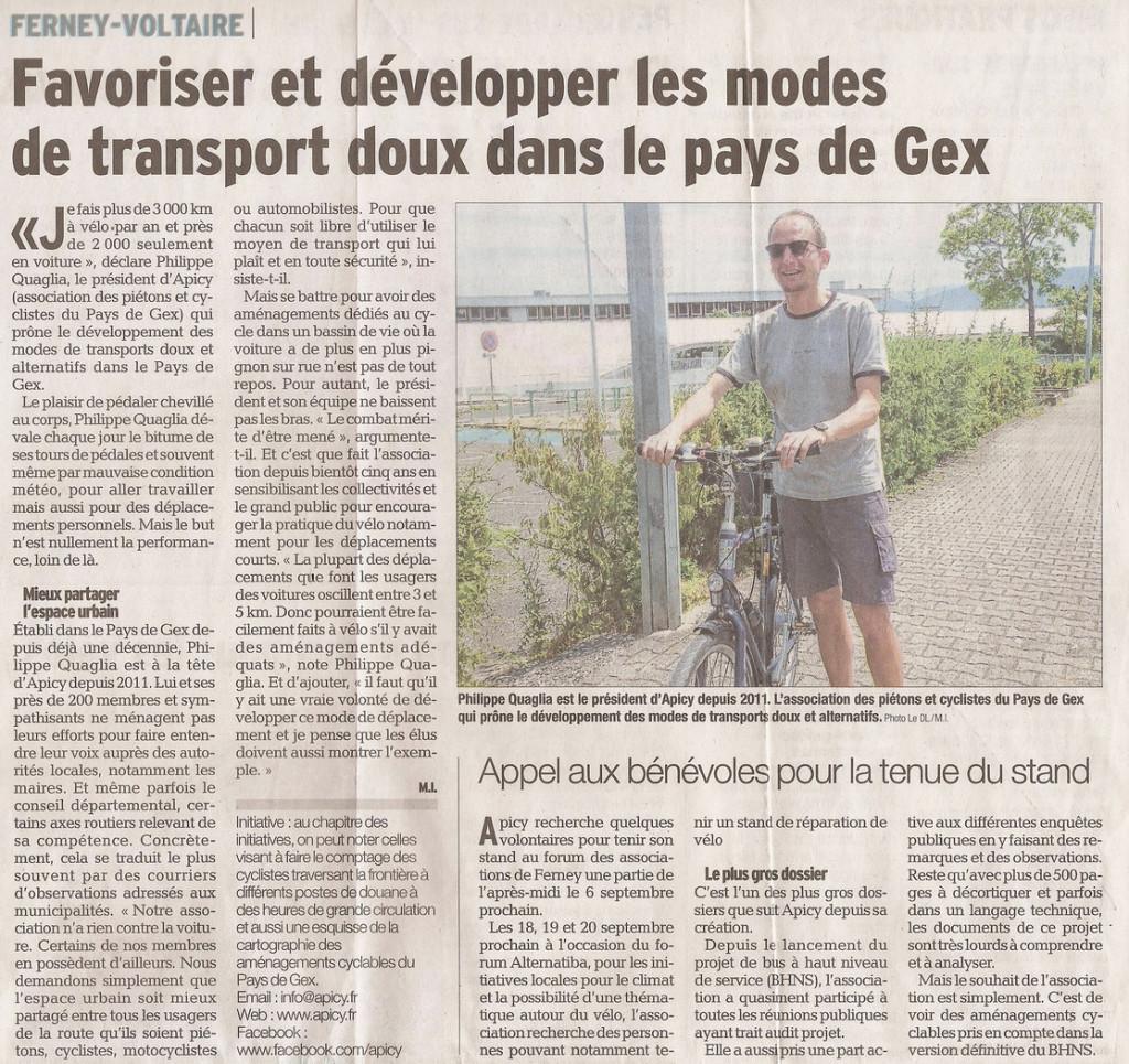 Article dans «Le Dauphiné» du 12 août