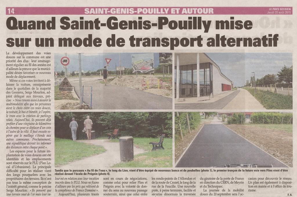 """Article du """"Pays Gessien"""" du 20 août 2015"""