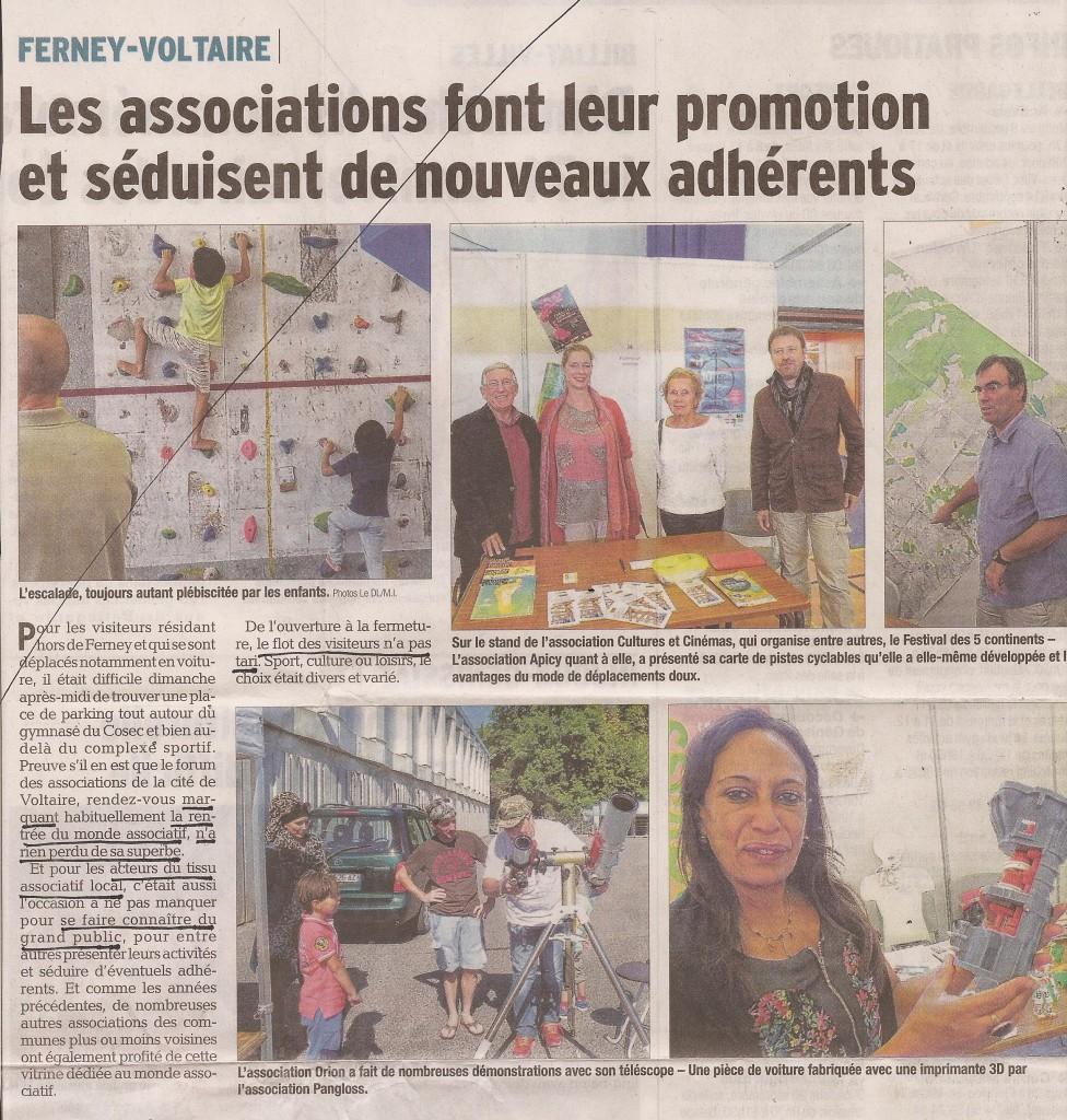 Article dans le Dauphiné Libéré du 8 septembre 2015