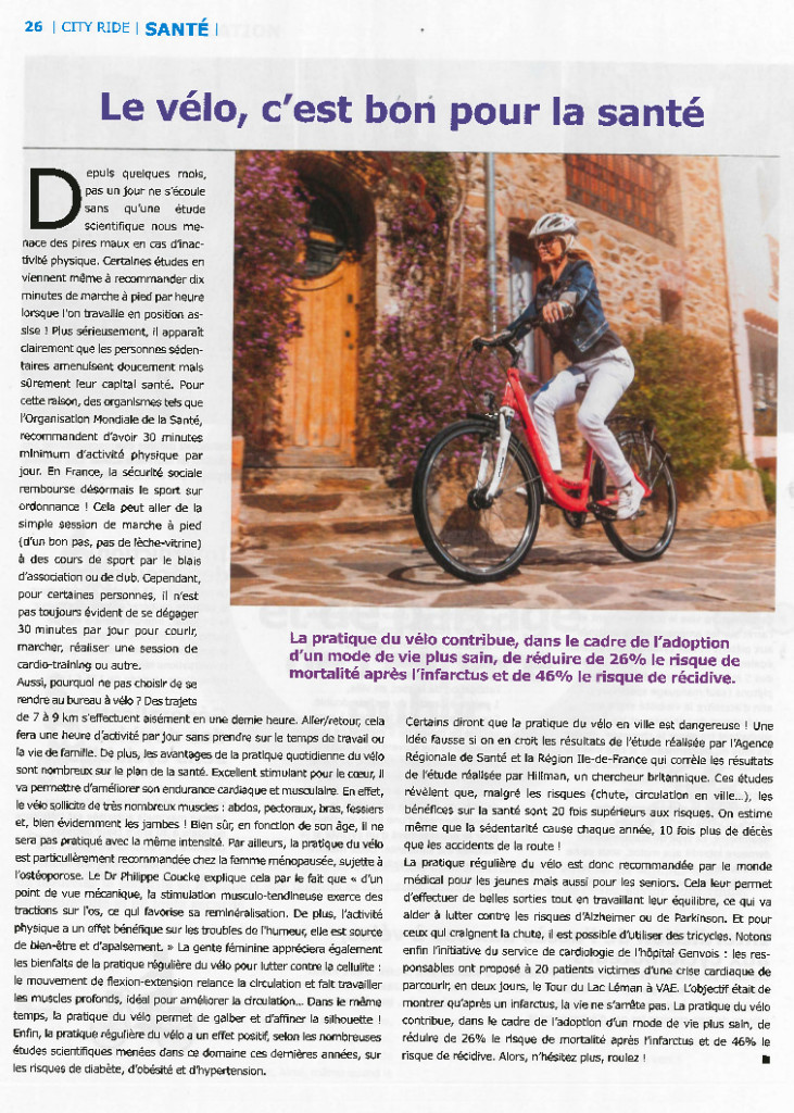 Un article de synthèse sur les bénéfices sur la santé de la pratique du vélo