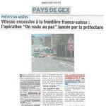 Douane de Meyrin/Saint-Genis: mise en place d'une limitation de la vitesse