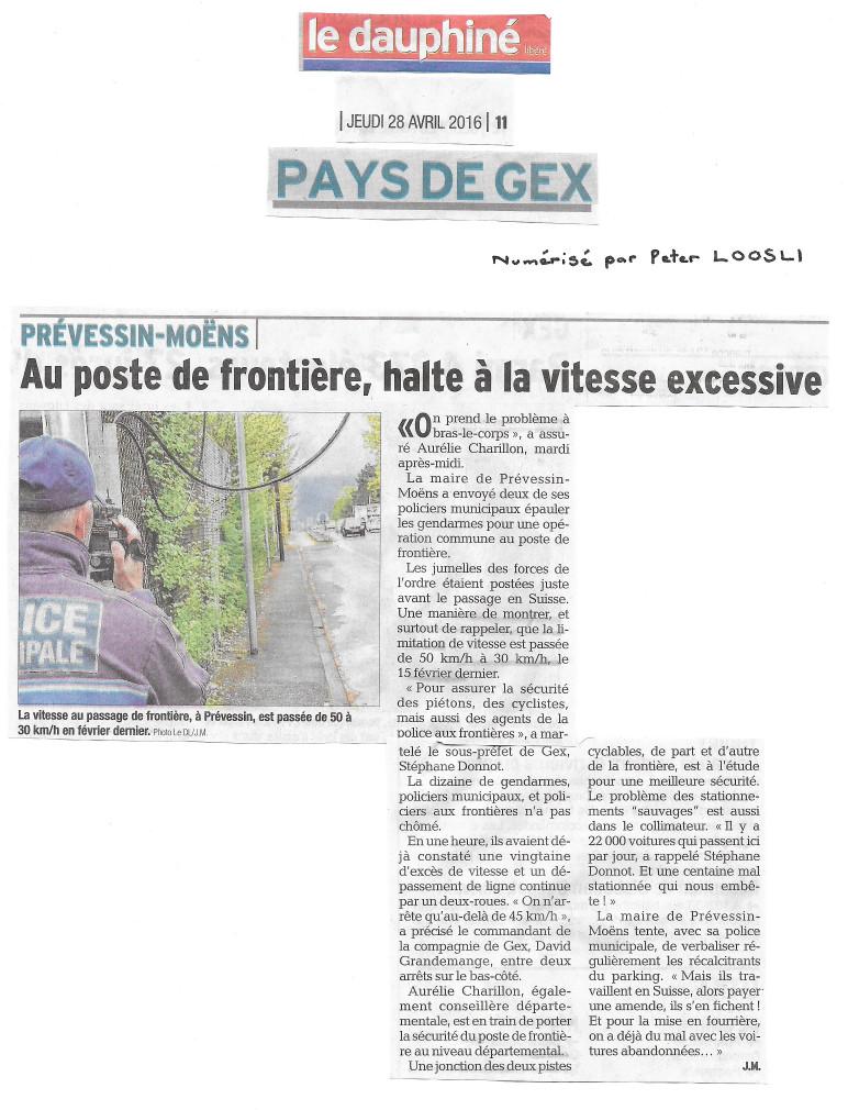 Prévessin • Mobilité active transfrontalière • -Le Dauphiné libéré- du 28 avril 2016