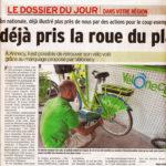 Article du Dauphiné sur les mesures vélo en Haute-Savoie