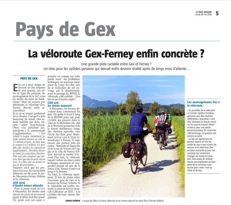 Des nouvelles de la véloroute Gex-Ferney dans le Gessien