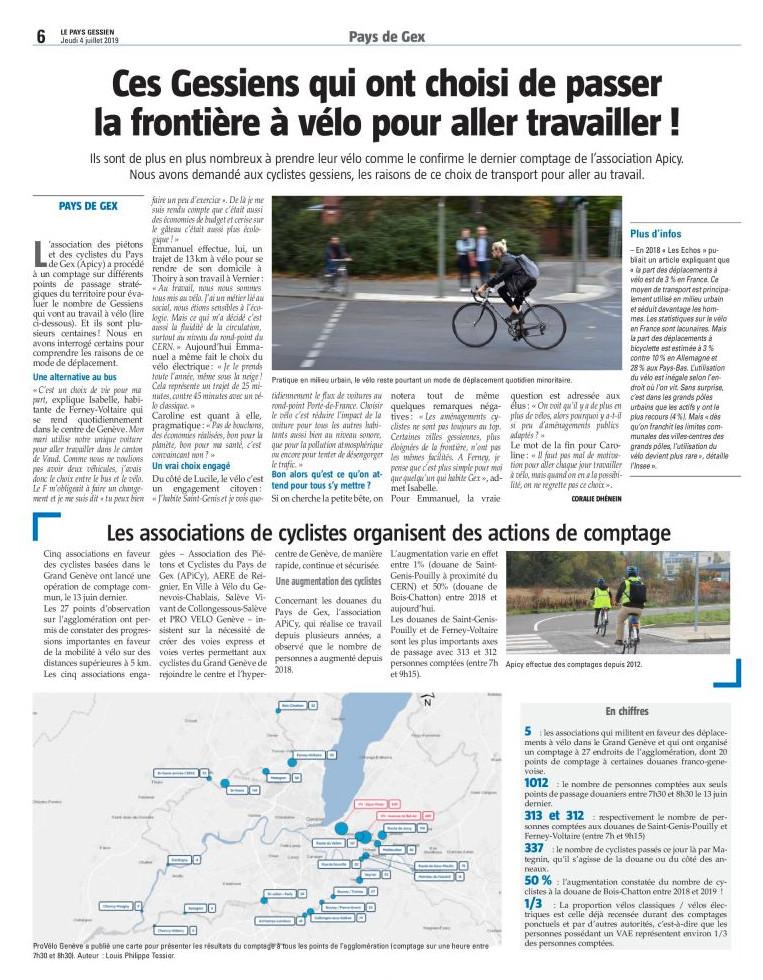 Article dans le Gessien sur les pendulaires à vélo