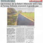 Un nouvel article du Dauphiné sur la véloroute Gex-Ferney