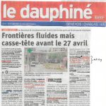 Un article dans le Gessien sur la fermeture des douanes aux cyclistes, et un autre du Dauphiné qui évoque notre action avec les autres associations